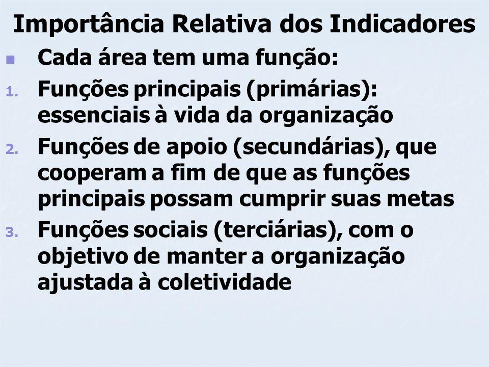 Importância Relativa dos Indicadores Cada área tem uma função: 1. 1. Funções principais (primárias): essenciais à vida da organização 2. 2. Funções de