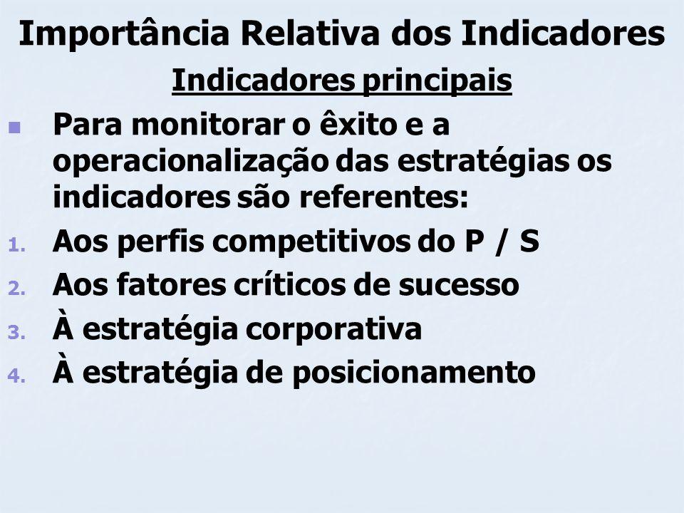 Importância Relativa dos Indicadores Indicadores principais Para monitorar o êxito e a operacionalização das estratégias os indicadores são referentes
