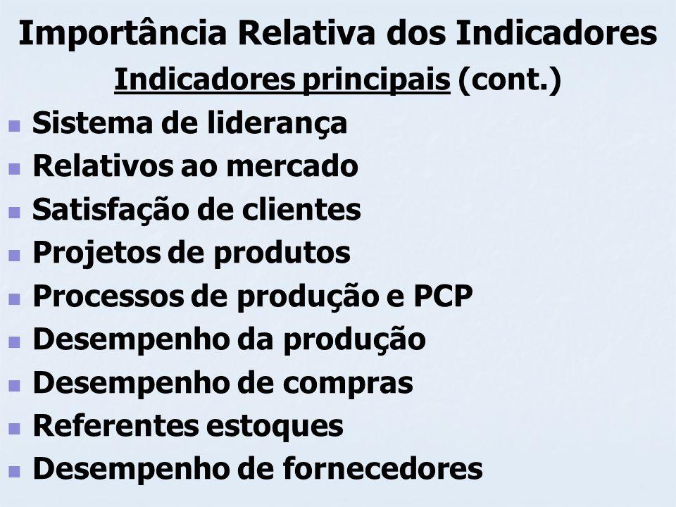 Importância Relativa dos Indicadores Indicadores principais (cont.) Sistema de liderança Relativos ao mercado Satisfação de clientes Projetos de produ