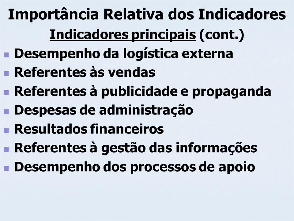 Importância Relativa dos Indicadores Indicadores principais (cont.) Desempenho da logística externa Referentes às vendas Referentes à publicidade e pr