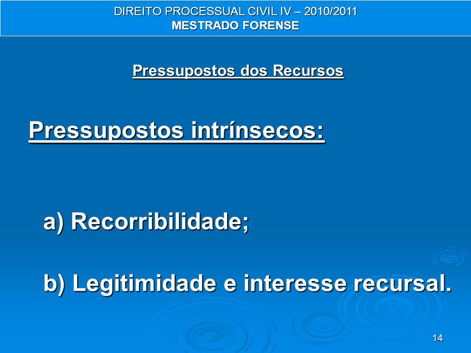 14 Pressupostos dos Recursos Pressupostos intrínsecos: a) Recorribilidade; b) Legitimidade e interesse recursal. DIREITO PROCESSUAL CIVIL IV – 2010/20