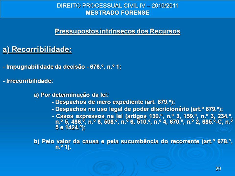 20 Pressupostos intrínsecos dos Recursos a) Recorribilidade: - Impugnabilidade da decisão - 676.º, n.º 1; - Irrecorribilidade: a) Por determinação da lei: a) Por determinação da lei: - Despachos de mero expediente (art.