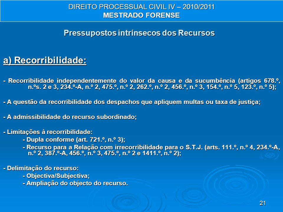 21 a) Recorribilidade: - Recorribilidade independentemente do valor da causa e da sucumbência (artigos 678.º, n.ºs.