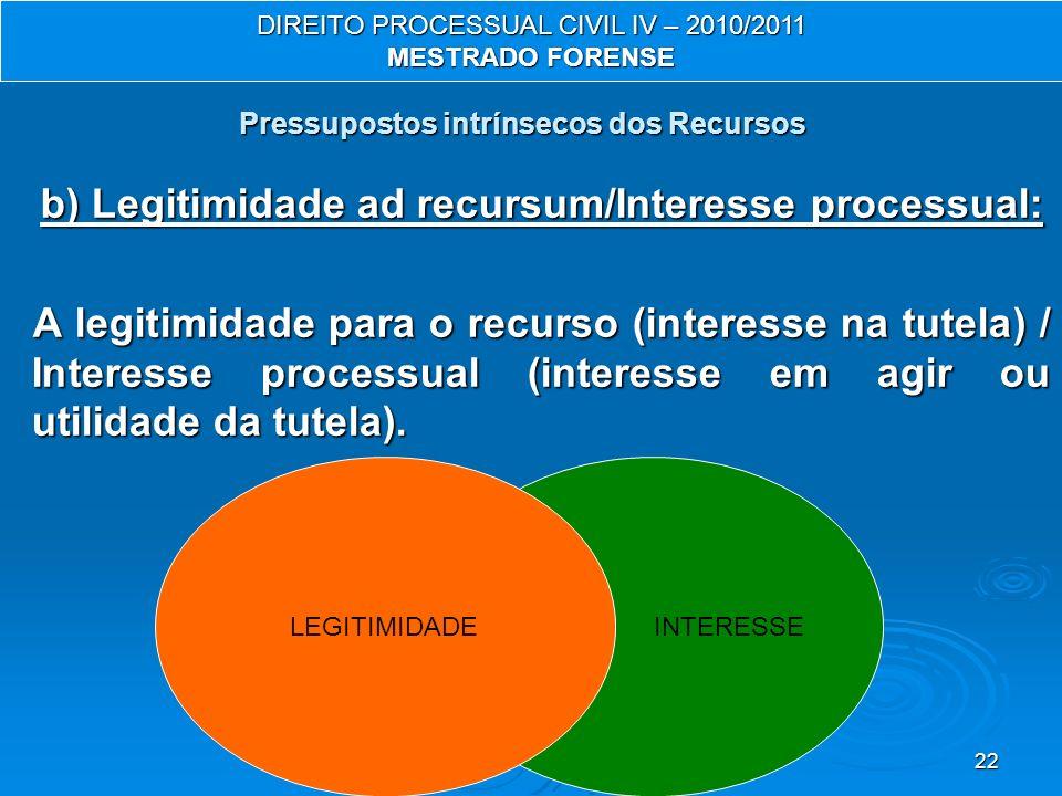 22 INTERESSE Pressupostos intrínsecos dos Recursos b) Legitimidade ad recursum/Interesse processual: A legitimidade para o recurso (interesse na tutel