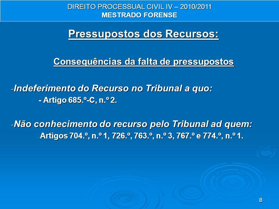 8 Pressupostos dos Recursos: Consequências da falta de pressupostos - Indeferimento do Recurso no Tribunal a quo: - Artigo 685.º-C, n.º 2. - Não conhe