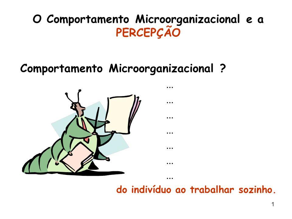 1 O Comportamento Microorganizacional e a PERCEPÇÃO Comportamento Microorganizacional ?... do indivíduo ao trabalhar sozinho.