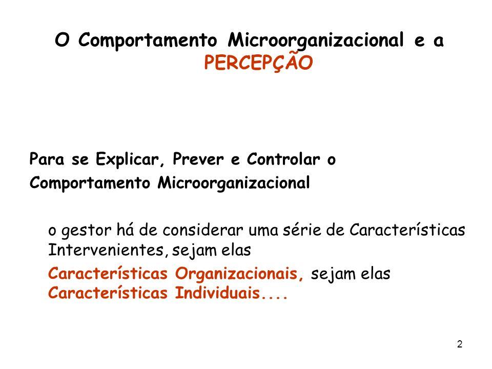 2 O Comportamento Microorganizacional e a PERCEPÇÃO Para se Explicar, Prever e Controlar o Comportamento Microorganizacional o gestor há de considerar