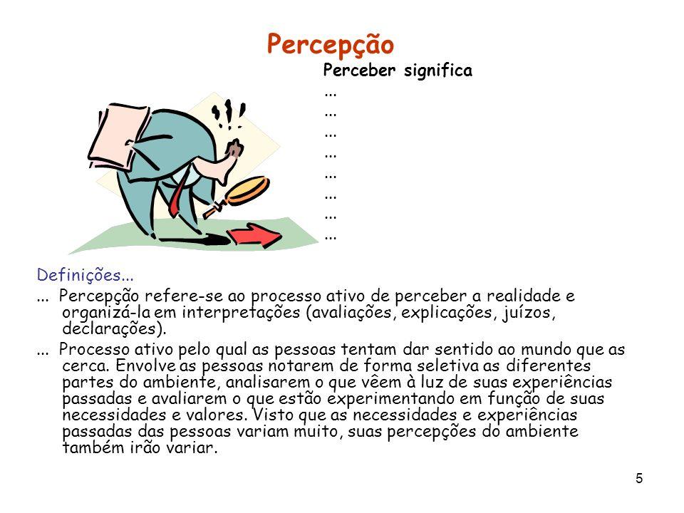 5 Percepção Perceber significa... Definições...... Percepção refere-se ao processo ativo de perceber a realidade e organizá-la em interpretações (aval