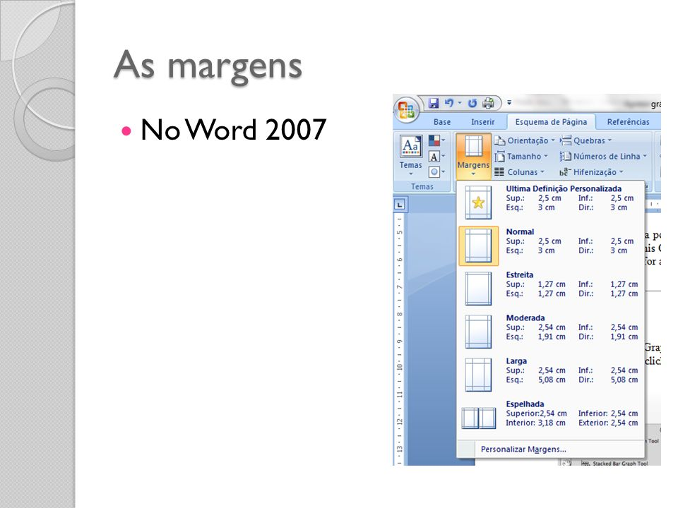 As margens No Word 2007