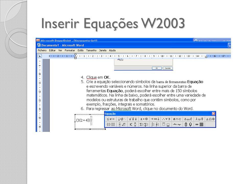 Inserir Equações W2003