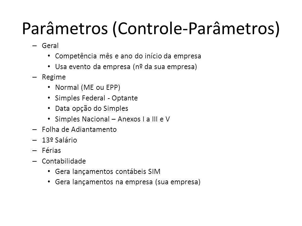 Parâmetros (Controle-Parâmetros) – Geral Competência mês e ano do início da empresa Usa evento da empresa (nº da sua empresa) – Regime Normal (ME ou E