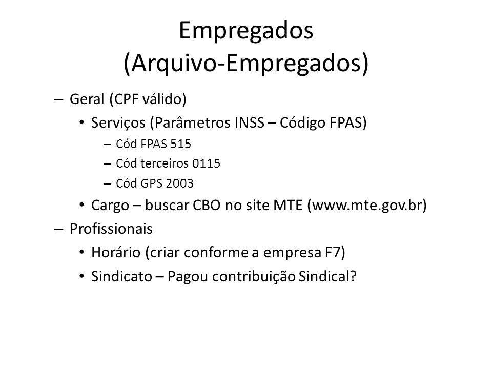Empregados (Arquivo-Empregados) – Geral (CPF válido) Serviços (Parâmetros INSS – Código FPAS) – Cód FPAS 515 – Cód terceiros 0115 – Cód GPS 2003 Cargo