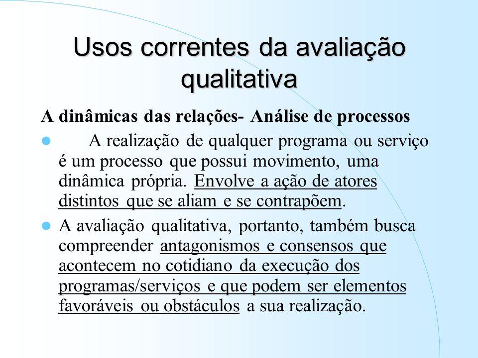 Usos correntes da avaliação qualitativa A dinâmicas das relações- Análise de processos A realização de qualquer programa ou serviço é um processo que possui movimento, uma dinâmica própria.