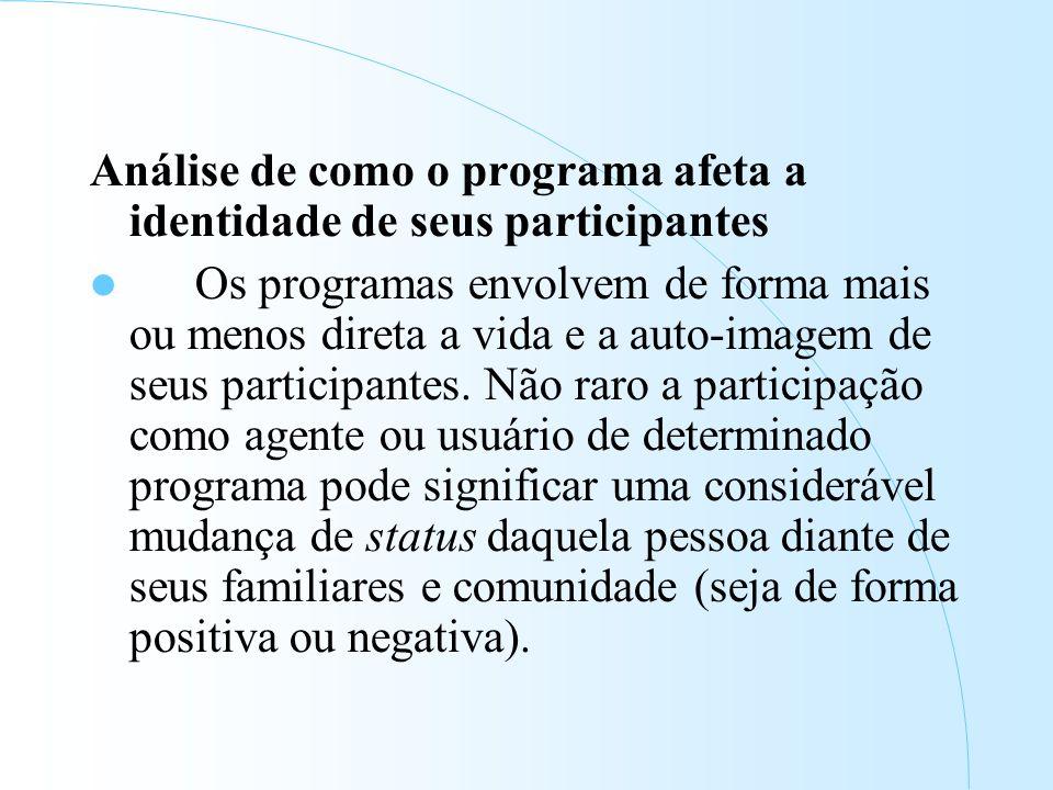 Análise de como o programa afeta a identidade de seus participantes Os programas envolvem de forma mais ou menos direta a vida e a auto-imagem de seus participantes.