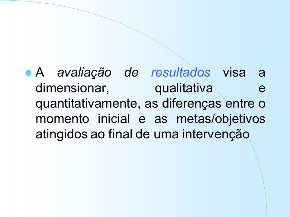 A avaliação de resultados visa a dimensionar, qualitativa e quantitativamente, as diferenças entre o momento inicial e as metas/objetivos atingidos ao final de uma intervenção