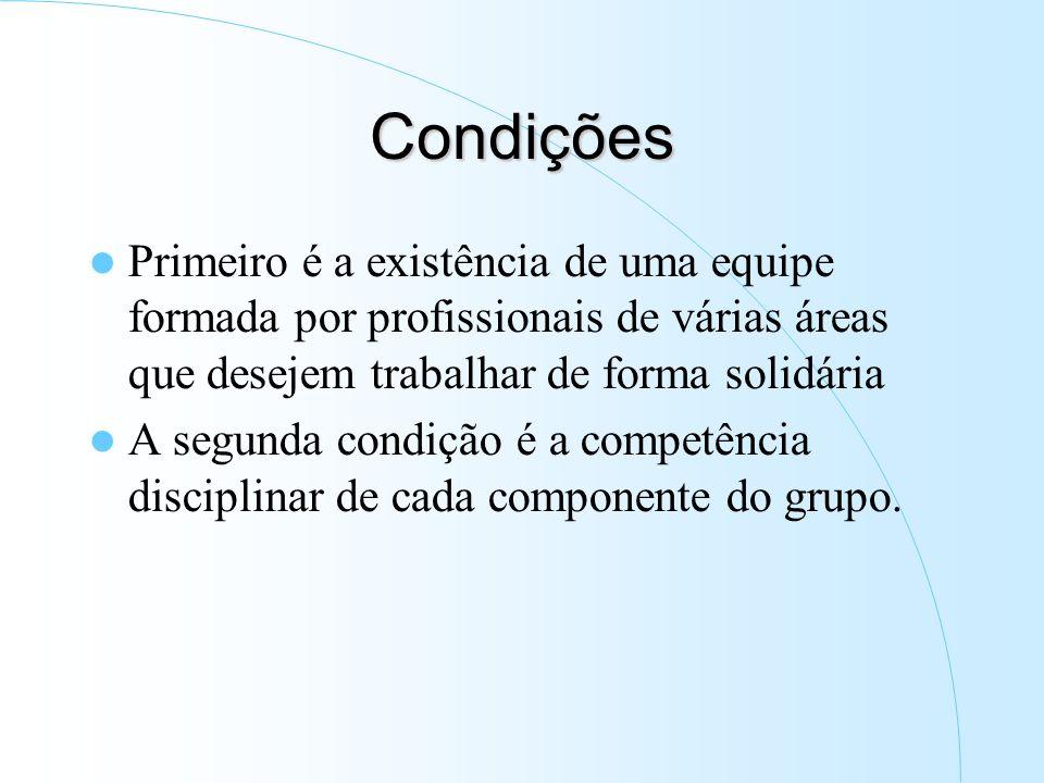 Condições Primeiro é a existência de uma equipe formada por profissionais de várias áreas que desejem trabalhar de forma solidária A segunda condição é a competência disciplinar de cada componente do grupo.