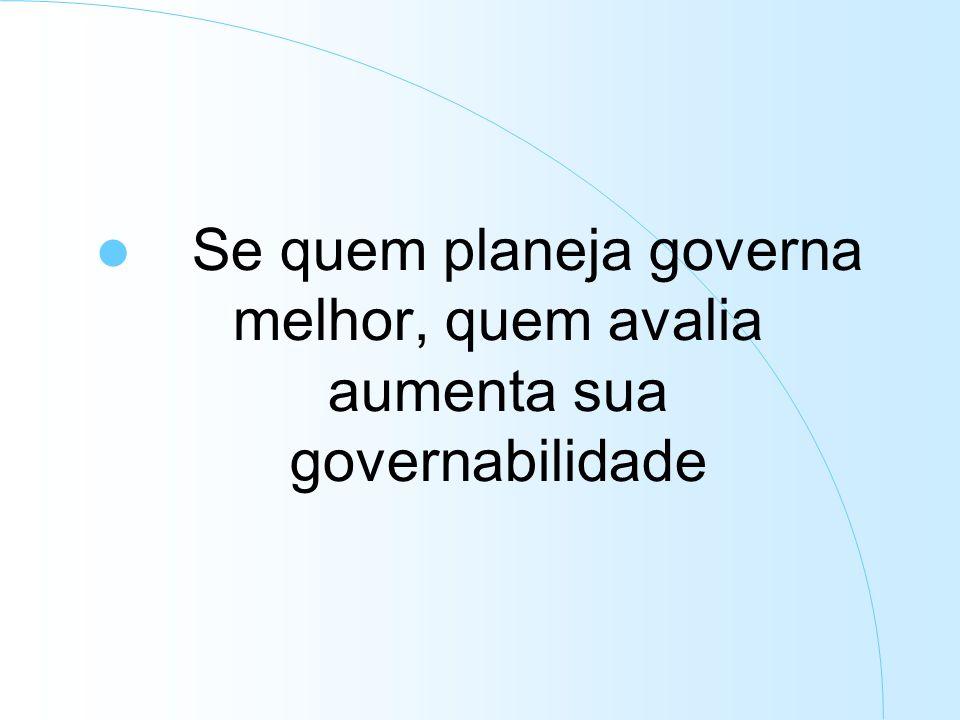 Se quem planeja governa melhor, quem avalia aumenta sua governabilidade
