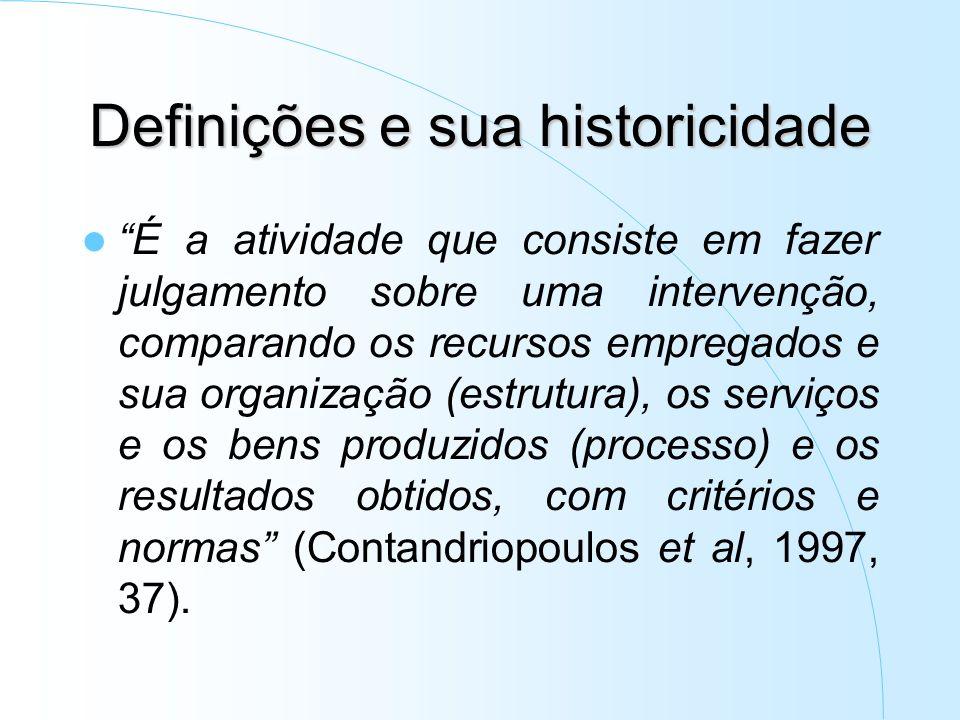 Definições e sua historicidade É a atividade que consiste em fazer julgamento sobre uma intervenção, comparando os recursos empregados e sua organização (estrutura), os serviços e os bens produzidos (processo) e os resultados obtidos, com critérios e normas (Contandriopoulos et al, 1997, 37).