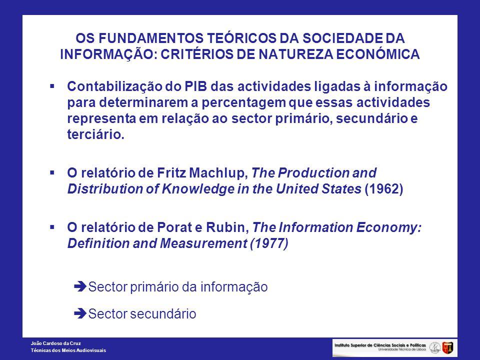 João Cardoso da Cruz Técnicas dos Meios Audiovisuais OS FUNDAMENTOS TEÓRICOS DA SOCIEDADE DA INFORMAÇÃO: CRITÉRIOS DE NATUREZA ECONÓMICA Contabilizaçã
