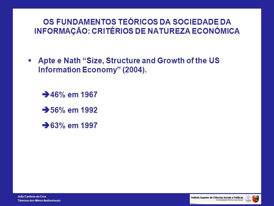João Cardoso da Cruz Técnicas dos Meios Audiovisuais OS FUNDAMENTOS TEÓRICOS DA SOCIEDADE DA INFORMAÇÃO: CRITÉRIOS DE NATUREZA ECONÓMICA Apte e Nath S