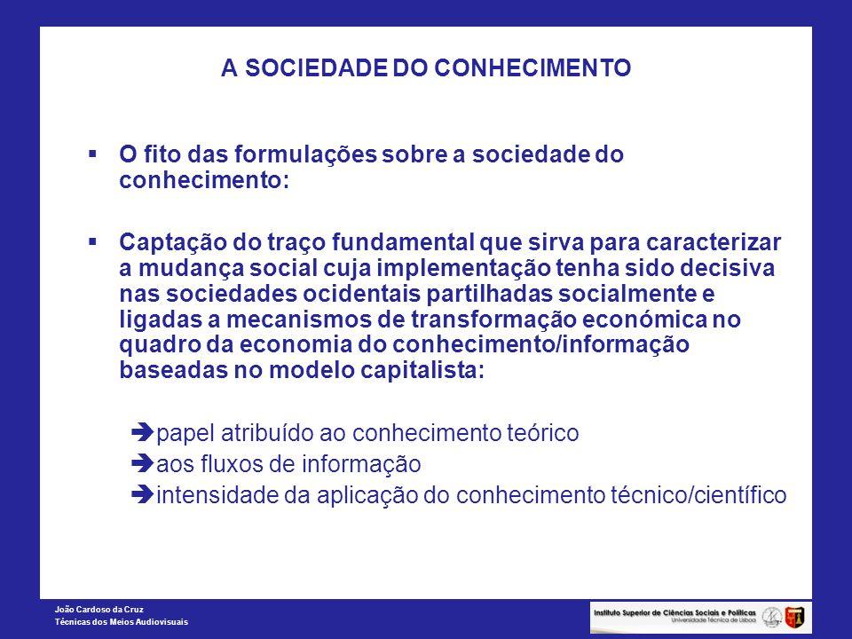 João Cardoso da Cruz Técnicas dos Meios Audiovisuais A SOCIEDADE DO CONHECIMENTO O fito das formulações sobre a sociedade do conhecimento: Captação do