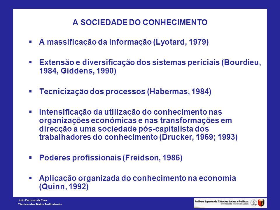 João Cardoso da Cruz Técnicas dos Meios Audiovisuais A SOCIEDADE DO CONHECIMENTO A massificação da informação (Lyotard, 1979) Extensão e diversificaçã