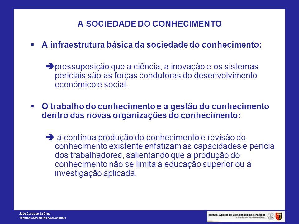 João Cardoso da Cruz Técnicas dos Meios Audiovisuais A SOCIEDADE DO CONHECIMENTO AS INSTITUIÇÕES DA NOVA ECONOMIA SEGUNDO CASTELLS A crescente centralidade da internet e da redes no domínio económico: 1.