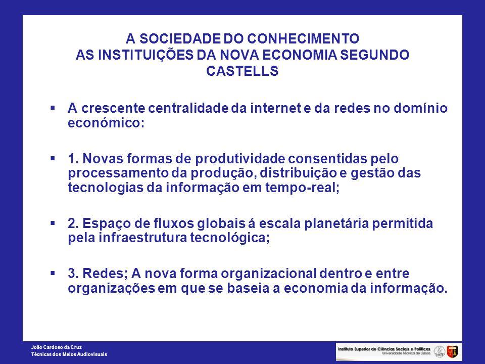 João Cardoso da Cruz Técnicas dos Meios Audiovisuais A SOCIEDADE DO CONHECIMENTO AS INSTITUIÇÕES DA NOVA ECONOMIA SEGUNDO CASTELLS A crescente central