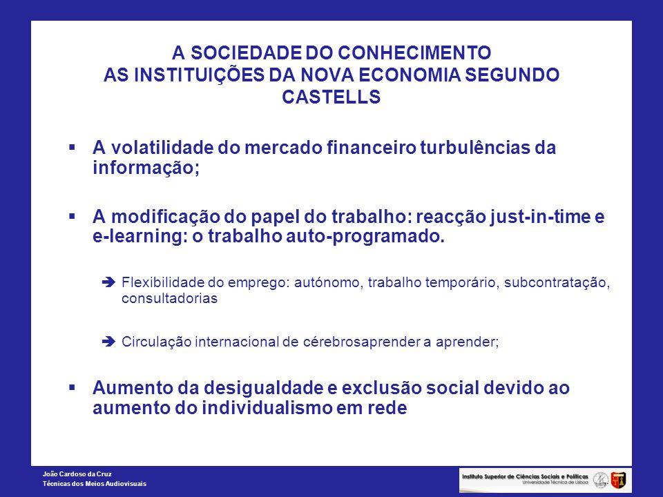 João Cardoso da Cruz Técnicas dos Meios Audiovisuais A SOCIEDADE DO CONHECIMENTO AS INSTITUIÇÕES DA NOVA ECONOMIA SEGUNDO CASTELLS A volatilidade do m