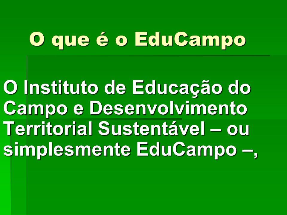 O que é o EduCampo O Instituto de Educação do Campo e Desenvolvimento Territorial Sustentável – ou simplesmente EduCampo –, O Instituto de Educação do