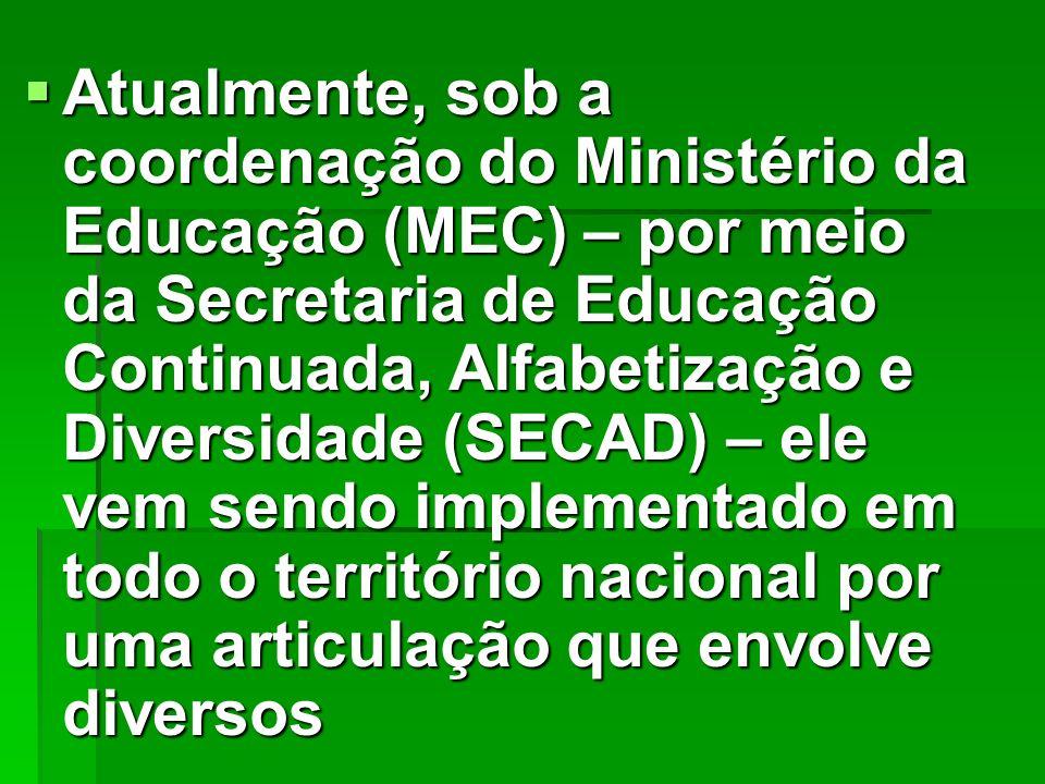 Atualmente, sob a coordenação do Ministério da Educação (MEC) – por meio da Secretaria de Educação Continuada, Alfabetização e Diversidade (SECAD) – e