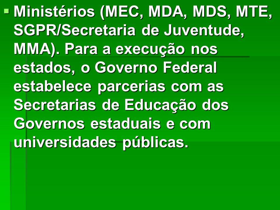 Ministérios (MEC, MDA, MDS, MTE, SGPR/Secretaria de Juventude, MMA). Para a execução nos estados, o Governo Federal estabelece parcerias com as Secret