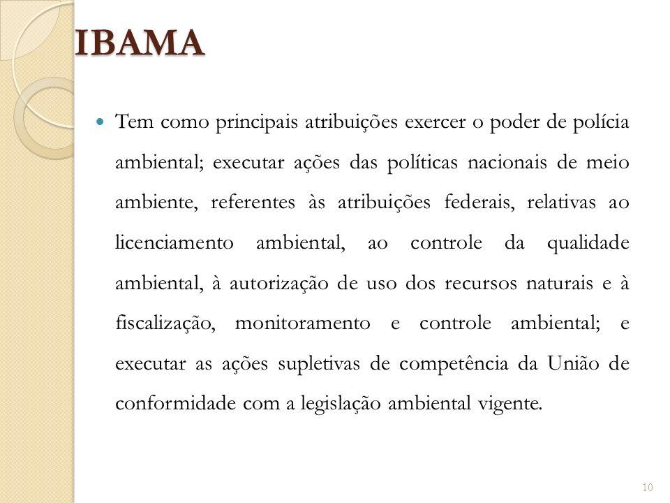 IBAMA Tem como principais atribuições exercer o poder de polícia ambiental; executar ações das políticas nacionais de meio ambiente, referentes às atr