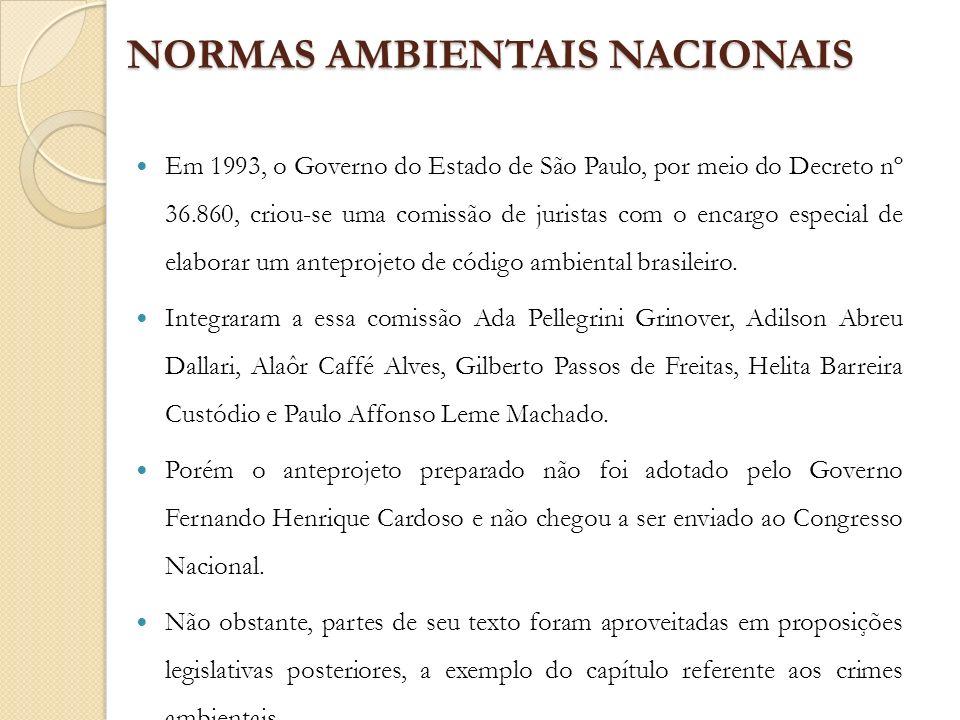 NORMAS AMBIENTAIS NACIONAIS Em 1993, o Governo do Estado de São Paulo, por meio do Decreto nº 36.860, criou-se uma comissão de juristas com o encargo