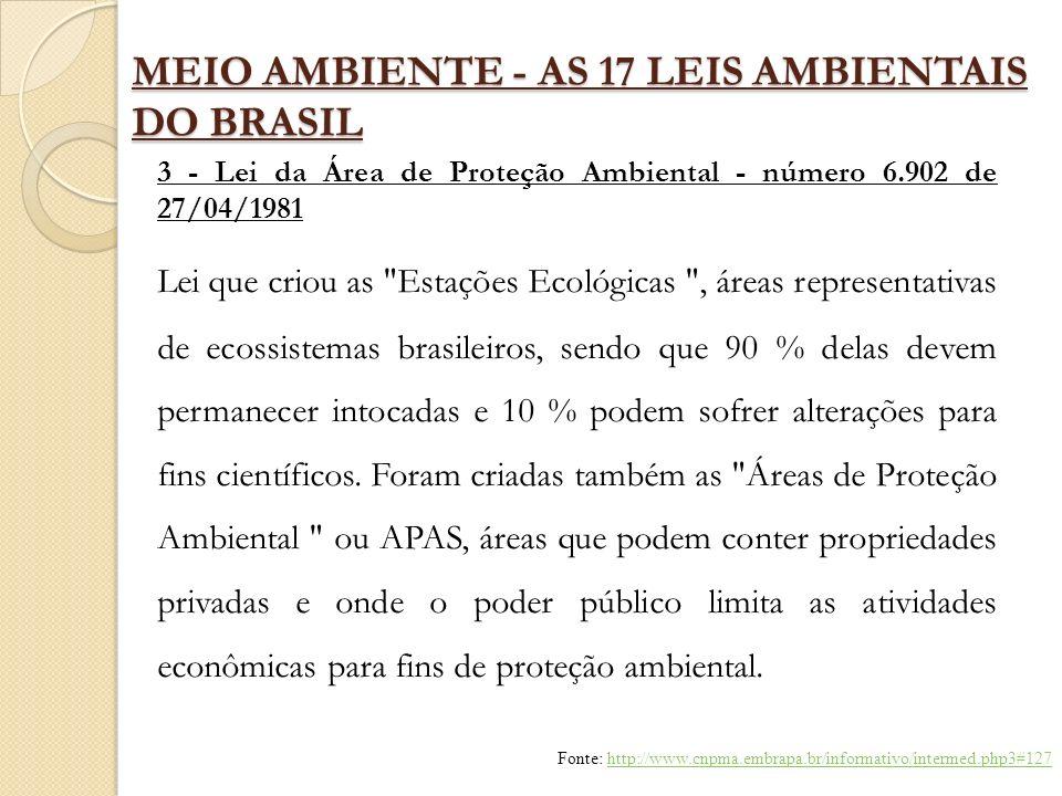 MEIO AMBIENTE - AS 17 LEIS AMBIENTAIS DO BRASIL 3 - Lei da Área de Proteção Ambiental - número 6.902 de 27/04/1981 Lei que criou as