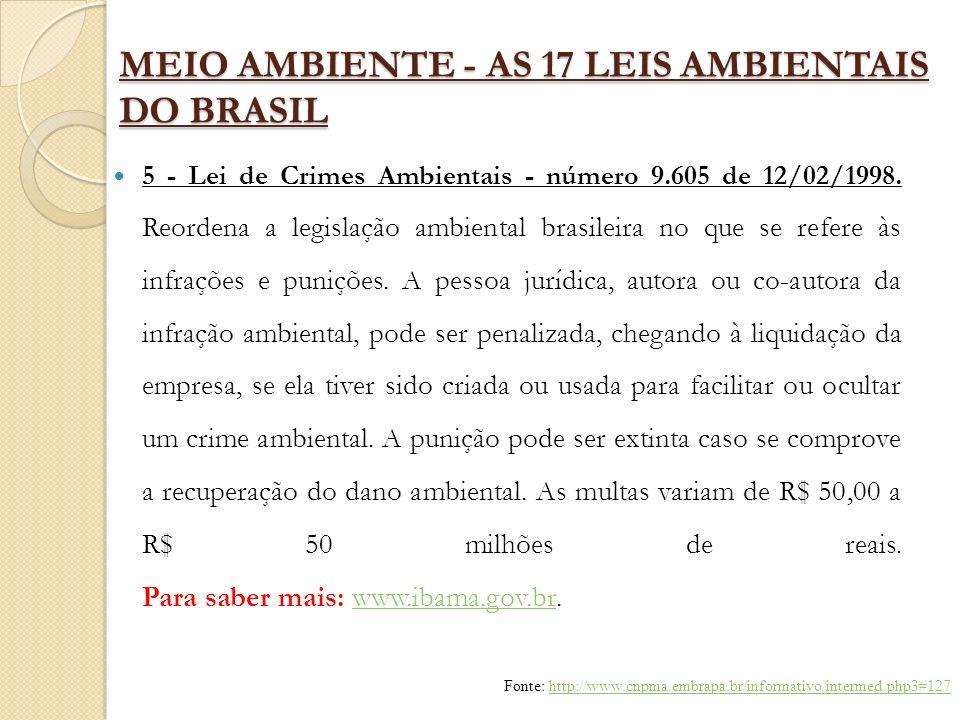 MEIO AMBIENTE - AS 17 LEIS AMBIENTAIS DO BRASIL 5 - Lei de Crimes Ambientais - número 9.605 de 12/02/1998. Reordena a legislação ambiental brasileira