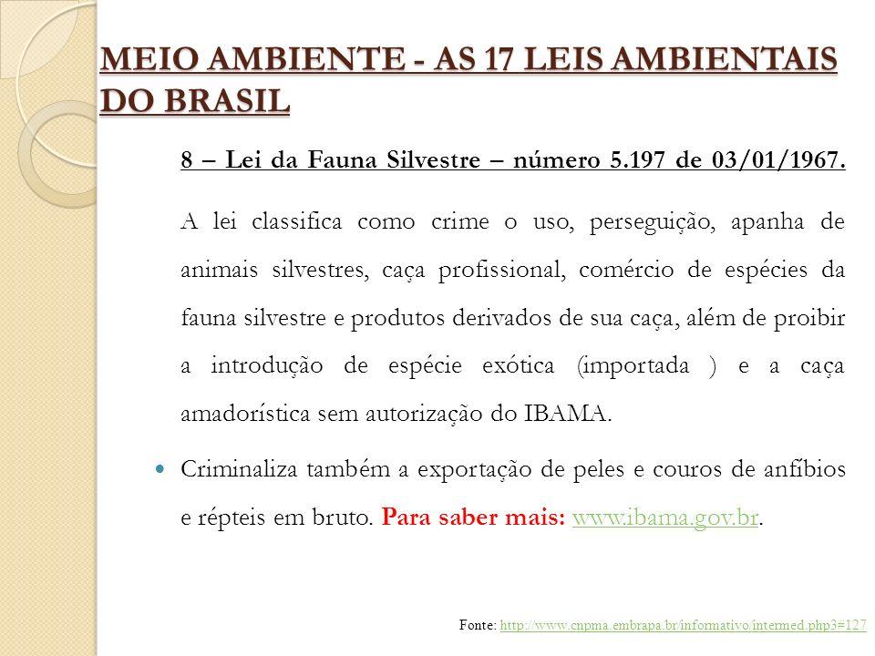 MEIO AMBIENTE - AS 17 LEIS AMBIENTAIS DO BRASIL 8 – Lei da Fauna Silvestre – número 5.197 de 03/01/1967. A lei classifica como crime o uso, perseguiçã