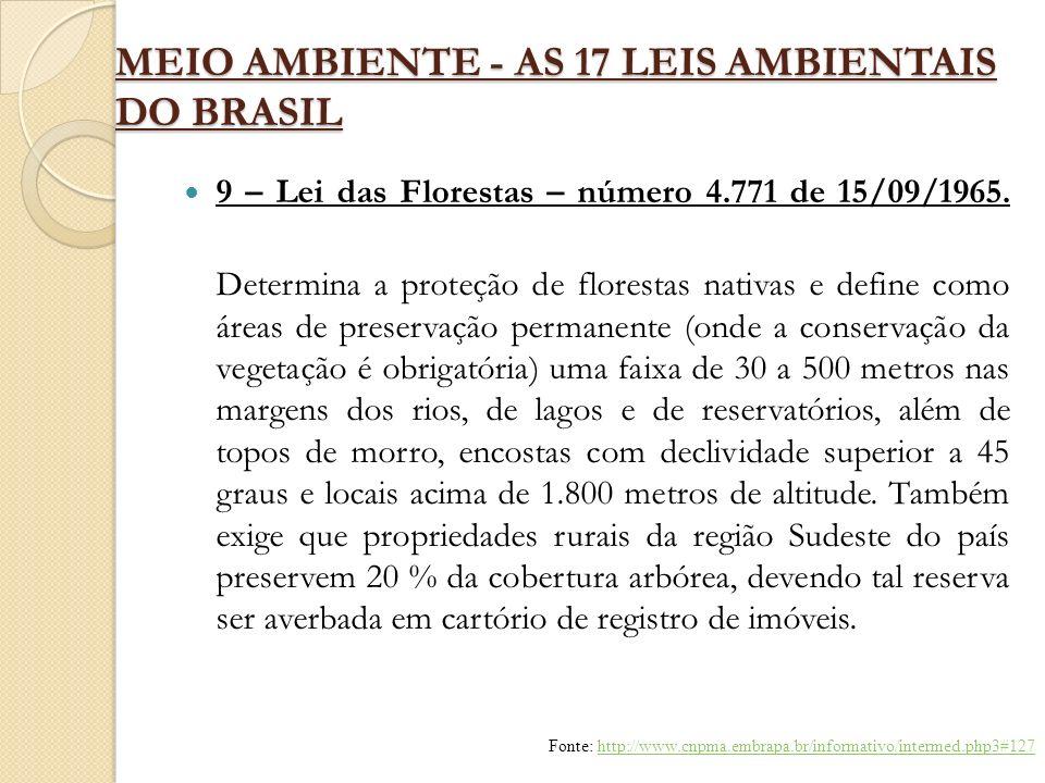 MEIO AMBIENTE - AS 17 LEIS AMBIENTAIS DO BRASIL 9 – Lei das Florestas – número 4.771 de 15/09/1965. Determina a proteção de florestas nativas e define