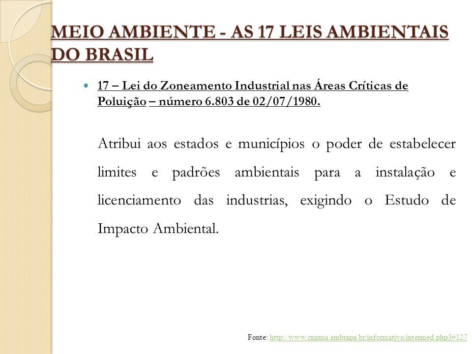 MEIO AMBIENTE - AS 17 LEIS AMBIENTAIS DO BRASIL 17 – Lei do Zoneamento Industrial nas Áreas Críticas de Poluição – número 6.803 de 02/07/1980. Atribui