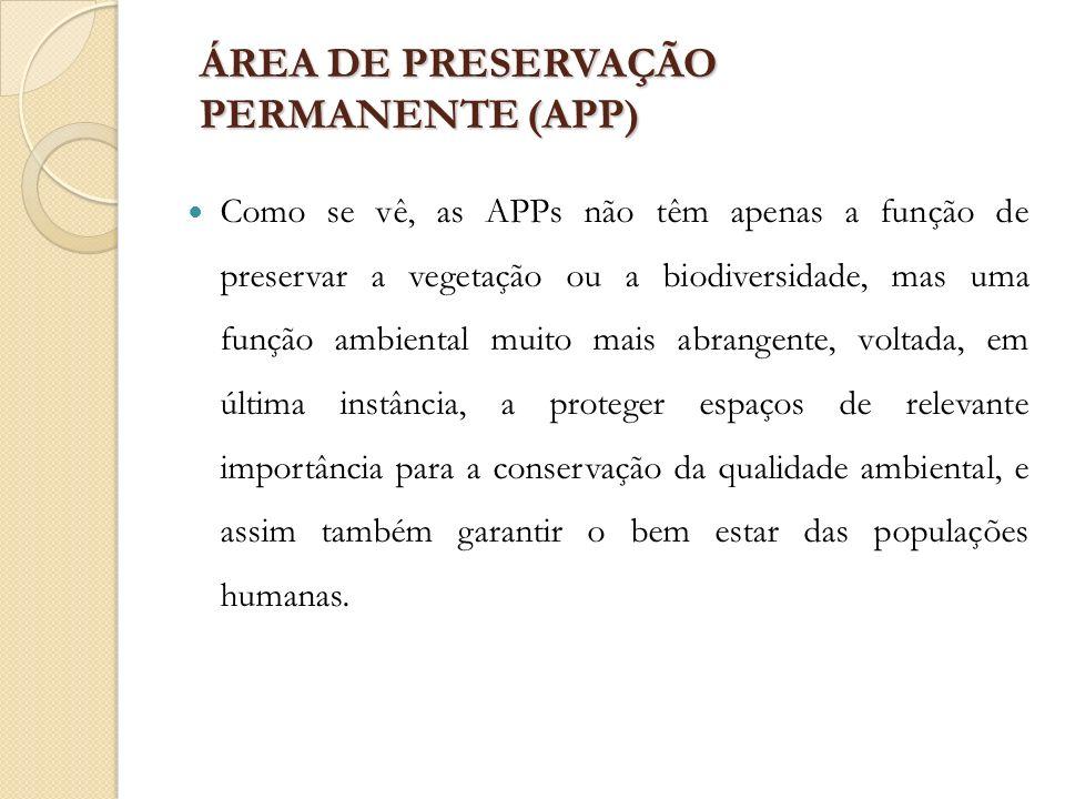 ÁREA DE PRESERVAÇÃO PERMANENTE (APP) Como se vê, as APPs não têm apenas a função de preservar a vegetação ou a biodiversidade, mas uma função ambienta