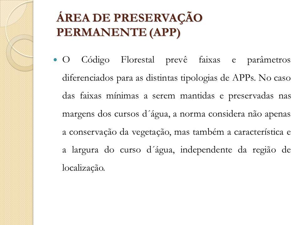 ÁREA DE PRESERVAÇÃO PERMANENTE (APP) O Código Florestal prevê faixas e parâmetros diferenciados para as distintas tipologias de APPs. No caso das faix