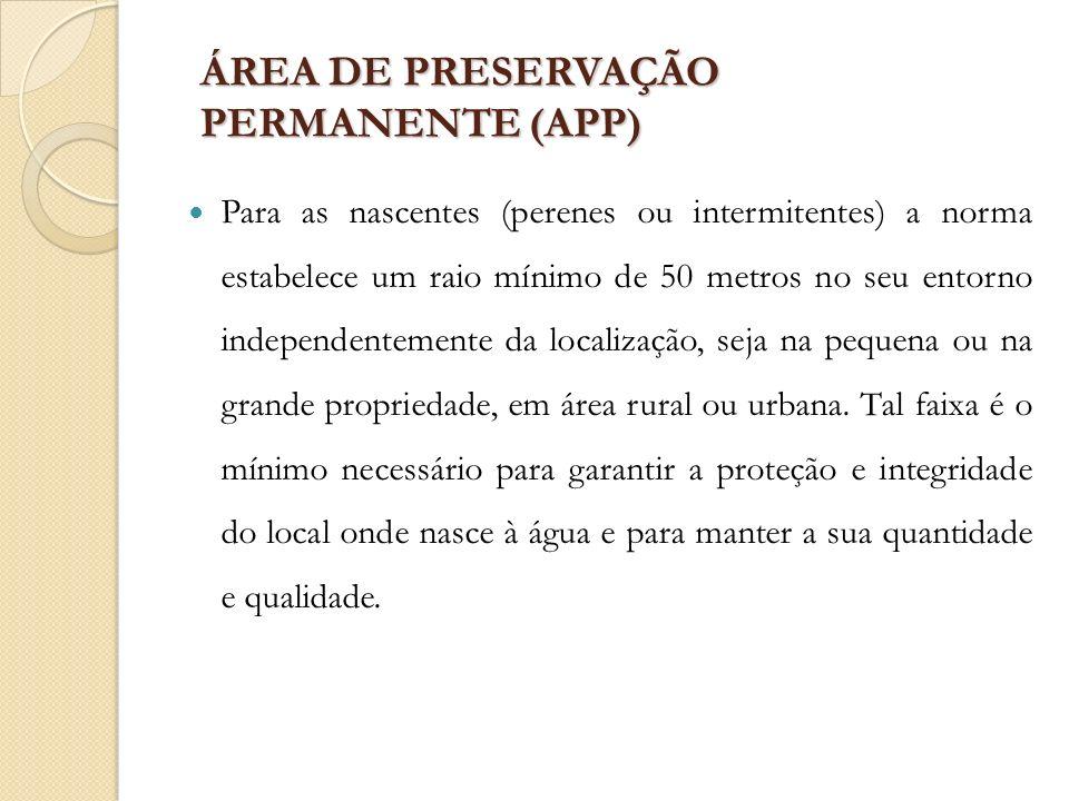 ÁREA DE PRESERVAÇÃO PERMANENTE (APP) Para as nascentes (perenes ou intermitentes) a norma estabelece um raio mínimo de 50 metros no seu entorno indepe