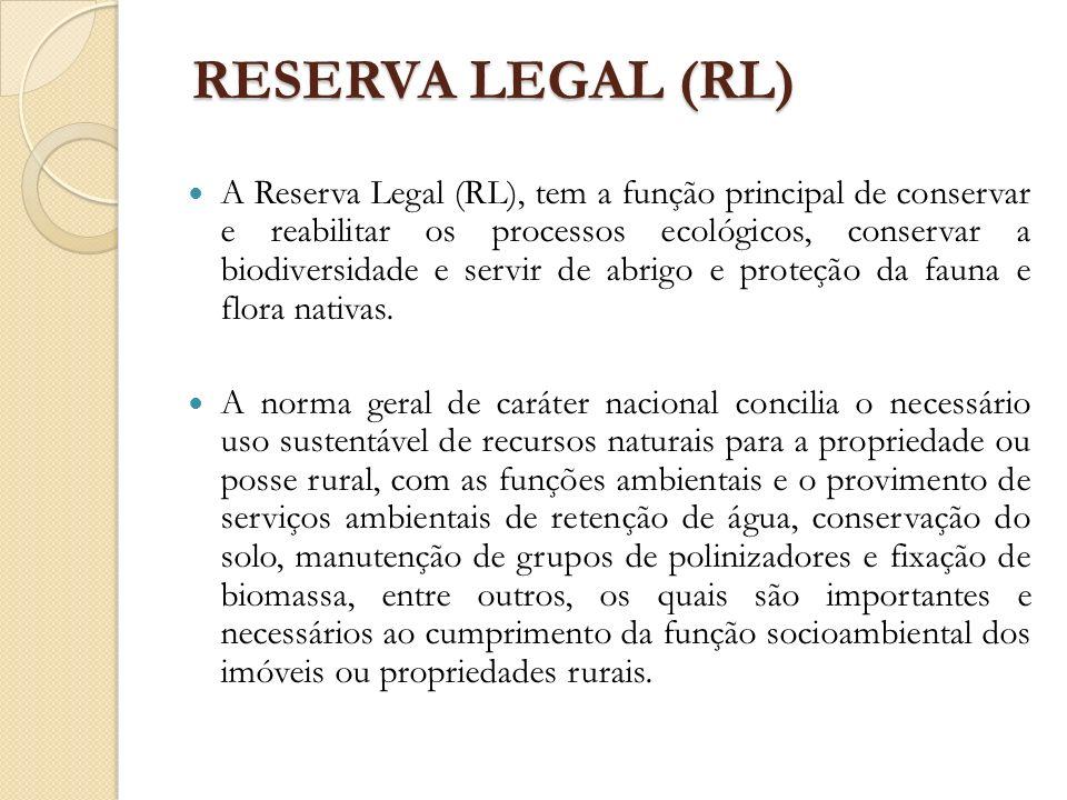 RESERVA LEGAL (RL) A Reserva Legal (RL), tem a função principal de conservar e reabilitar os processos ecológicos, conservar a biodiversidade e servir