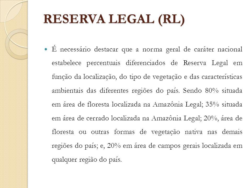 RESERVA LEGAL (RL) É necessário destacar que a norma geral de caráter nacional estabelece percentuais diferenciados de Reserva Legal em função da loca