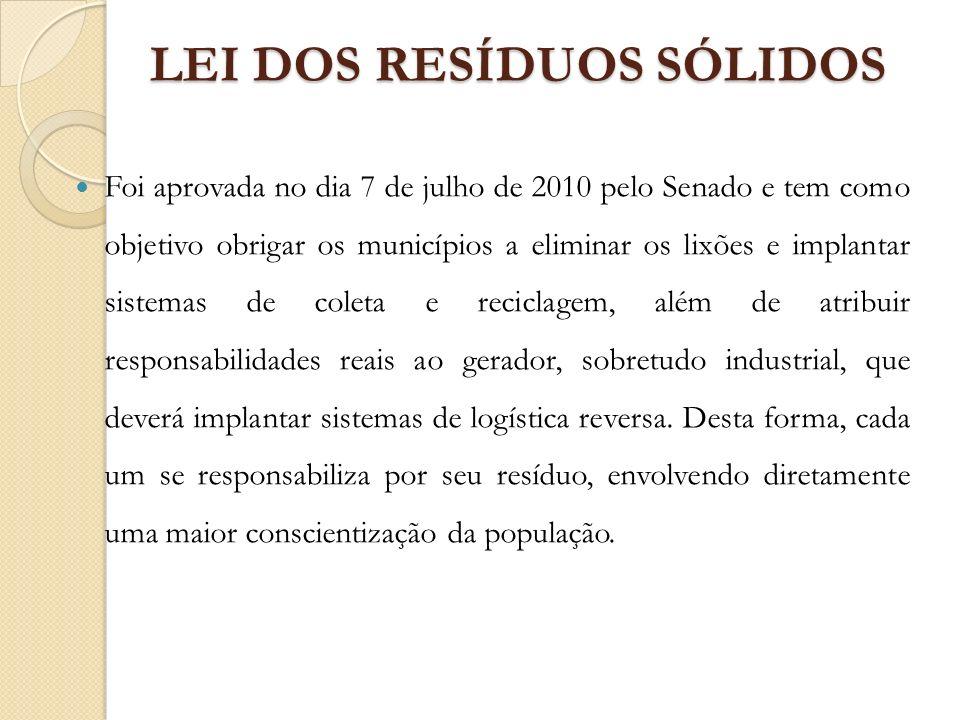 LEI DOS RESÍDUOS SÓLIDOS Foi aprovada no dia 7 de julho de 2010 pelo Senado e tem como objetivo obrigar os municípios a eliminar os lixões e implantar