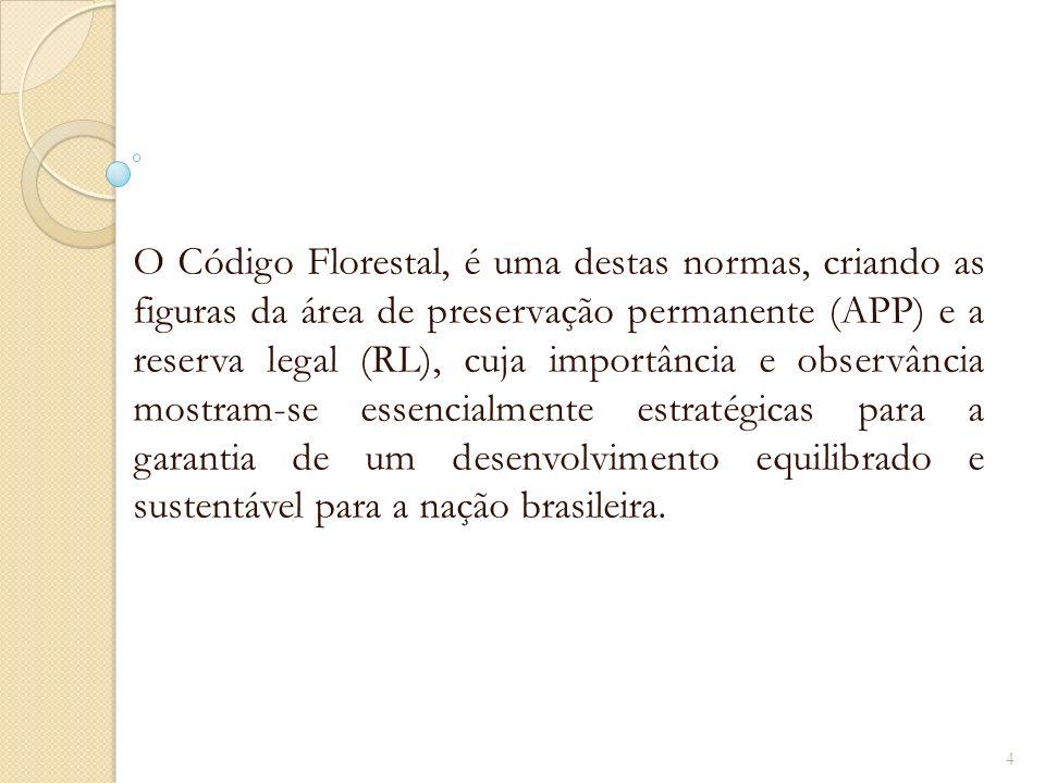O Código Florestal, é uma destas normas, criando as figuras da área de preservação permanente (APP) e a reserva legal (RL), cuja importância e observâ