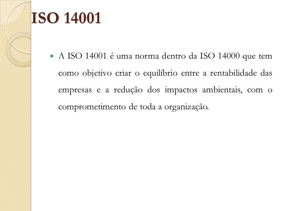 ISO 14001 A ISO 14001 é uma norma dentro da ISO 14000 que tem como objetivo criar o equilíbrio entre a rentabilidade das empresas e a redução dos impa