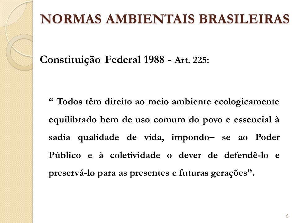 NORMAS AMBIENTAIS BRASILEIRAS Constituição Federal 1988 - Art. 225: Todos têm direito ao meio ambiente ecologicamente equilibrado bem de uso comum do