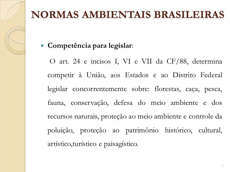 NORMAS AMBIENTAIS BRASILEIRAS Competência para legislar: O art. 24 e incisos I, VI e VII da CF/88, determina competir à União, aos Estados e ao Distri
