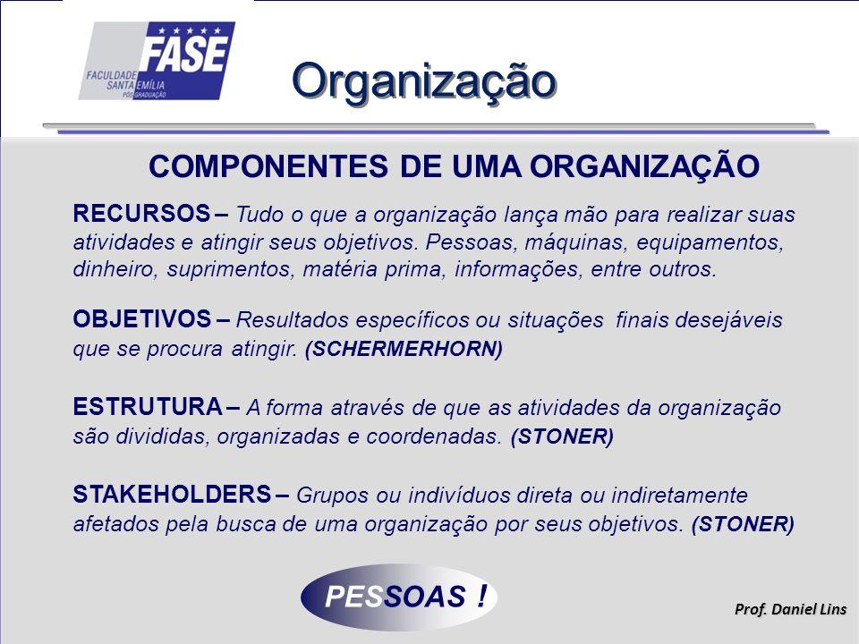 Prof.Daniel Lins Organização AS ORGANIZAÇÕES SERVEM À SOCIEDADE...